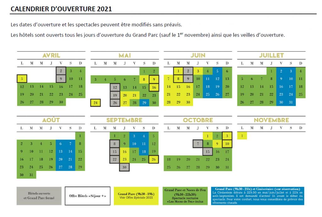 Puy du Fou calendrier ouverture 2021